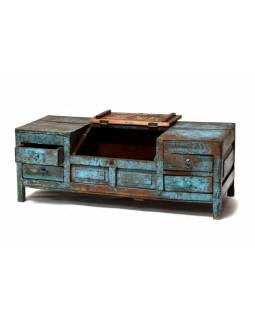 Stolek z teakového dřeva, antik, modrá patina, 107x45x39cm
