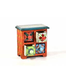 Skříňka se 4 keramickými šuplíky, ručně malovaná, dřevo, 17x10x17cm