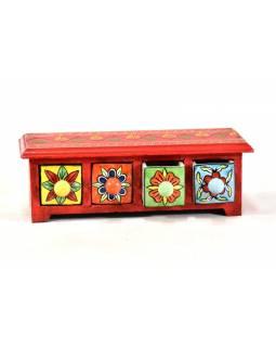 Skříňka se 4 keramickými šuplíky, ručně malovaná, dřevo, 31x10x10cm