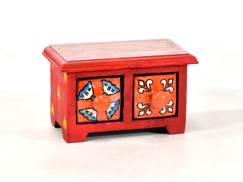 Skříňka se 2 keramickými šuplíky, ručně malovaná, dřevo, 17x10x10cm