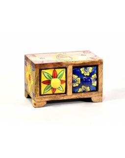 Skříňka se 2 keramickými šuplíky, ručně malovaná, dřevo, 15x9x9cm