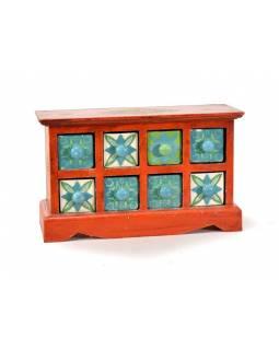 Skříňka s 8 keramickými šuplíky, ručně malovaná, dřevo, 30x12x18cm