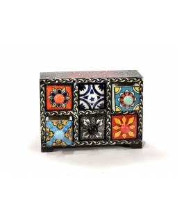 Skříňka se 6 keramickými šuplíky, ručně malovaná, dřevo, 22x9x16cm