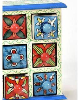Skříňka se 6 keramickými šuplíky, ručně malovaná, dřevo, 17x10x25cm