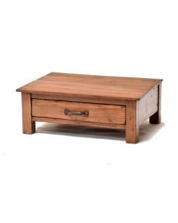Stoleček z antik teakového dřeva s šuplíkem, 61x45x23cm