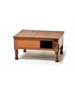 Stoleček z antik teakového dřeva s dvířky, 52x41x27cm