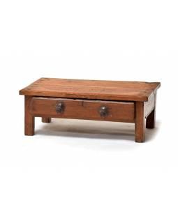 Stoleček z antik teakového dřeva s dvěma šuplíky, 54x30x20cm