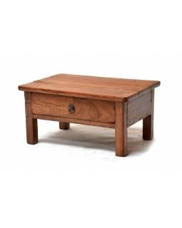 Stoleček z antik teakového dřeva s šuplíkem, 60x45x30cm