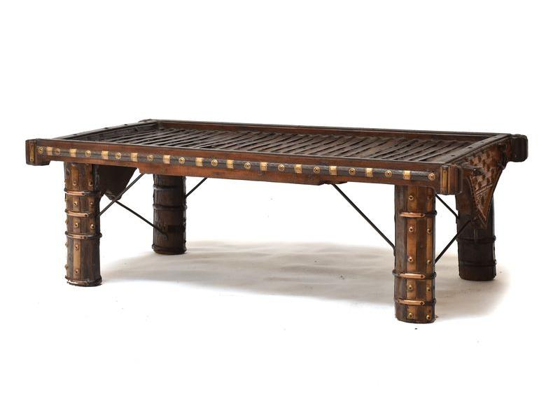 Konferenční stůl vyrobený ze starého povozu, kování, 137x69x46cm