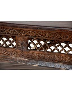Konferenční stůl z mangového dřeva, ručně vyřezávané boky, 166x89x47cm