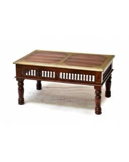 Stolek z palisandrového dřeva, mosazné kování, 90x60x45cm