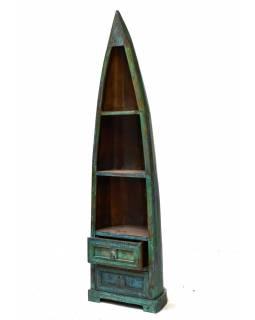 Knihovna z mangového dřeva, ve tvaru lodi, 56x40x180cm
