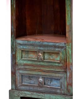 Knihovna z mangového dřeva, ve tvaru lodi,  53x30x187cm