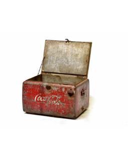 """Plechová lednička """"Coca Cola"""", antik, 60x44x40cm"""