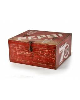 "Dřevěná chladnička ""Pepsi"", antik, 59x47x28cm"