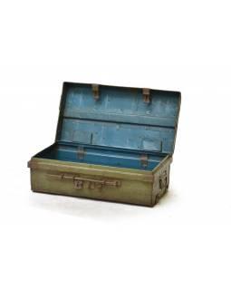 Plechový kufr, antik, zelený, 69x38x76cm
