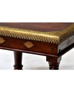 Stolek z palisandrového dřeva, mosazné kování, 60x60x45cm