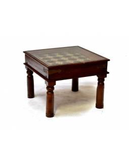 Konferenční stolek se sklem, palisandr, mosazné kování, 63x63x50cm