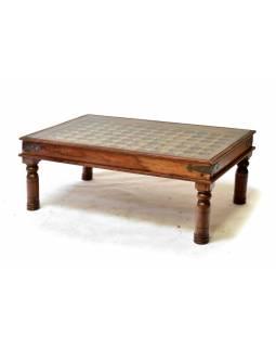 Konferenční stolek se sklem, mosazné kování, 120x75x40cm