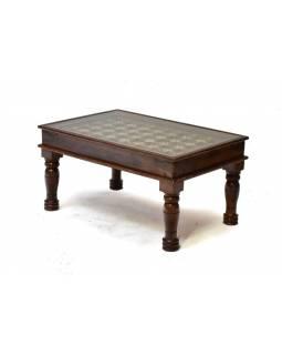 Konferenční stolek se sklem, mosazné kování, 90x55x40cm