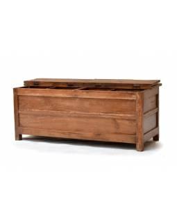 Truhla/botník z antik teakového dřeva, 4 poklopy, přihrádky, 118x47x47cm