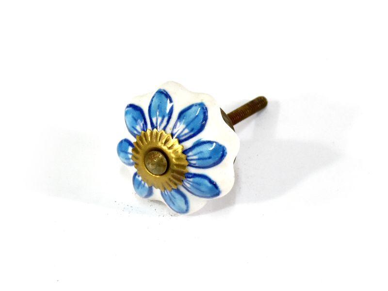 Malované porcelánové madlo na šuplík, modrý dekor, prům. 4,5cm