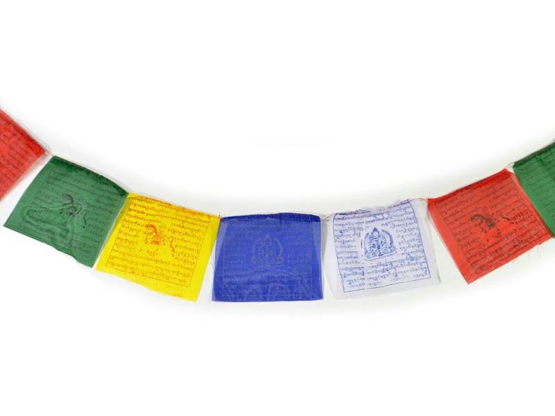 Tibetské modlitební praporky na šňůře 1,4m, 10 praporků (14x14cm)