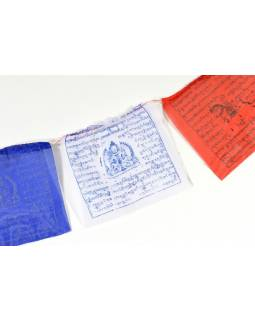 Tibetské modlitební praporky na šňůře 2,2m, 10 praporků (22x18cm)
