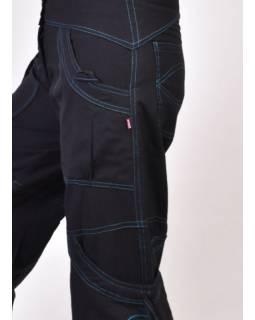 Černo-modré kalhoty s kapsami, spirálová výšivka, zapínání na zip a knoflíky