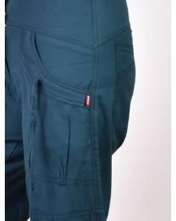 Petrolejové kalhoty s kapsami, spirálová výšivka, zapínání na zip a knoflíky