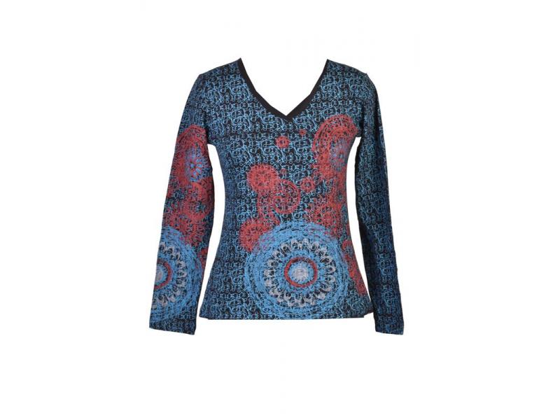 Černé tričko s dlouhým rukávem, modrý celopotisk a barevná mandala, V výstřih