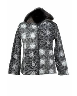 Černo-šedá dámská mikina s černou kapucí zapínaná na zip, Sun design