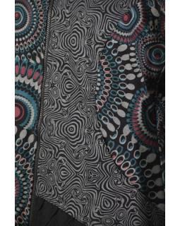 Černo-šedý kabátek s kapucí, mandala print, zapínání na zip a kapsy