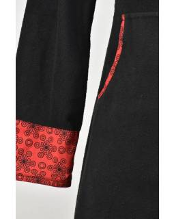 """Černo-červený lehký kabátek s kapucí """"Circle"""", potisk, kapsy, zip"""