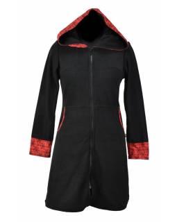 """Černo-červený lehký fleecový kabátek s kapucí """"Circle"""", potisk, kapsy, zip"""