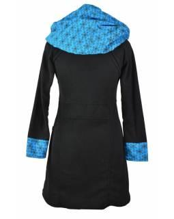 """Černo-tyrkys. lehký fleecový kabátek s kapucí """"Circle"""", potisk, kapsy, zip"""