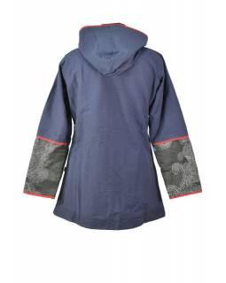 Černo-šedý kabát s kapucí zapínaný na zip, barevný Mandala potisk, lemy