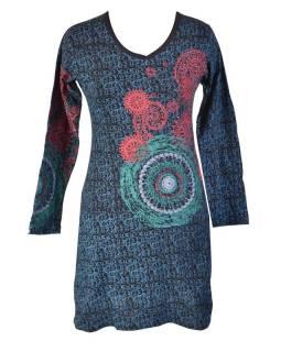 Černé šaty s dlouhým rukávem, modrý celotisk, barevná mandala, V výstřih, výšivk