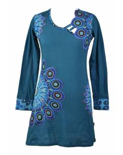 Krátké petrolejové šaty Peacock design s atipickým výstřihem a dlouhým rukávem,