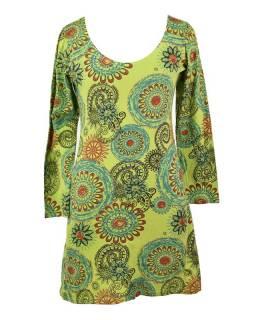Krátké zelené šaty s potiskem mandal, dlouhý rukáv a V výstřih