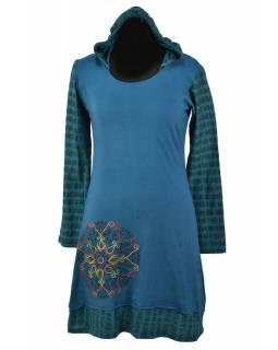 Krátké petrolejové šaty s kapucí a dlouhým rukávem, Mantra design, výšivka