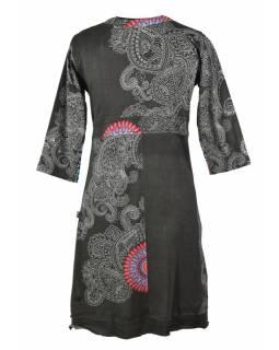 Šedé šaty s dlouhým rukávem, Mandala potisk, V výstřih