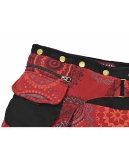 Krátká vínová sukně zapínaná na svočky, Mandala design, potisk, kapsička
