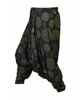 Černo-zelené turecké kalhoty s potiskem mandal, elastický pas
