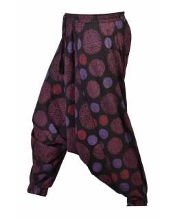 Černo-růžové turecké kalhoty s potiskem mandal, elastický pas