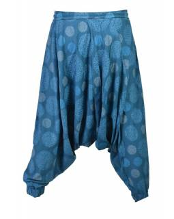 Modré turecké kalhoty s potiskem mandal, elastický pas