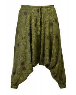 Khaki turecké kalhoty s potiskem mandal, elastický pas