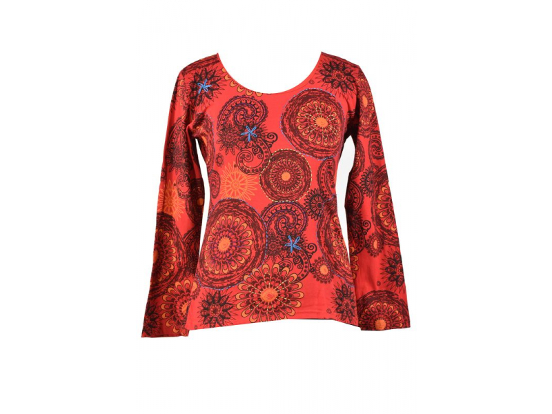 Červené tričko s dlouhým rukávem, mandala potisk a ruční výšivka