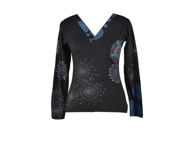 Černé tričko s dlouhým rukávem a potiskem mandal, výšivka