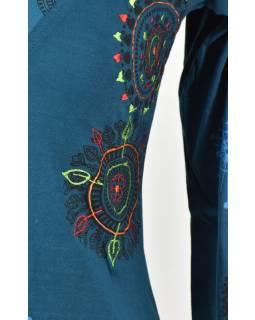 Petrolejové tričko s dlouhým rukávem a potiskem mandal, výšivka